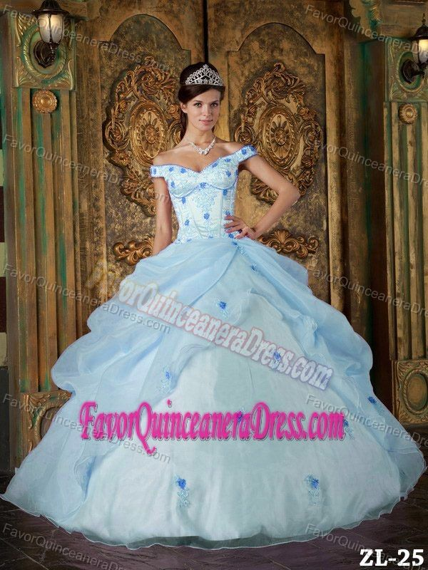 69bad6f11f5 Off-the-shoulder Ball Gown Floor-length Sweet 15 Dresses in Light Blue
