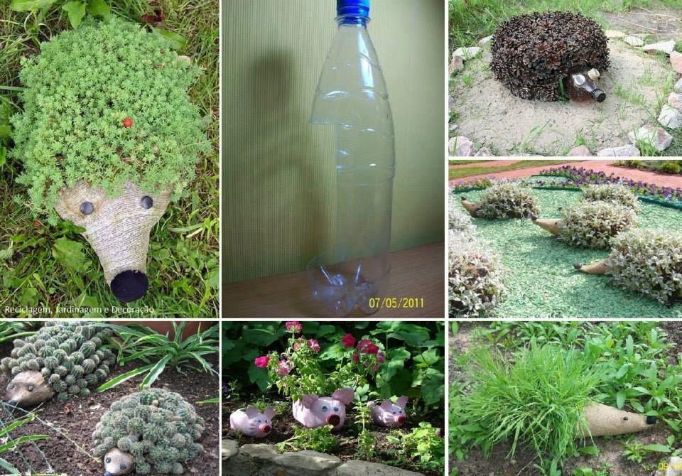 Plantadores divertidos, por reutilização de garrafas PET.