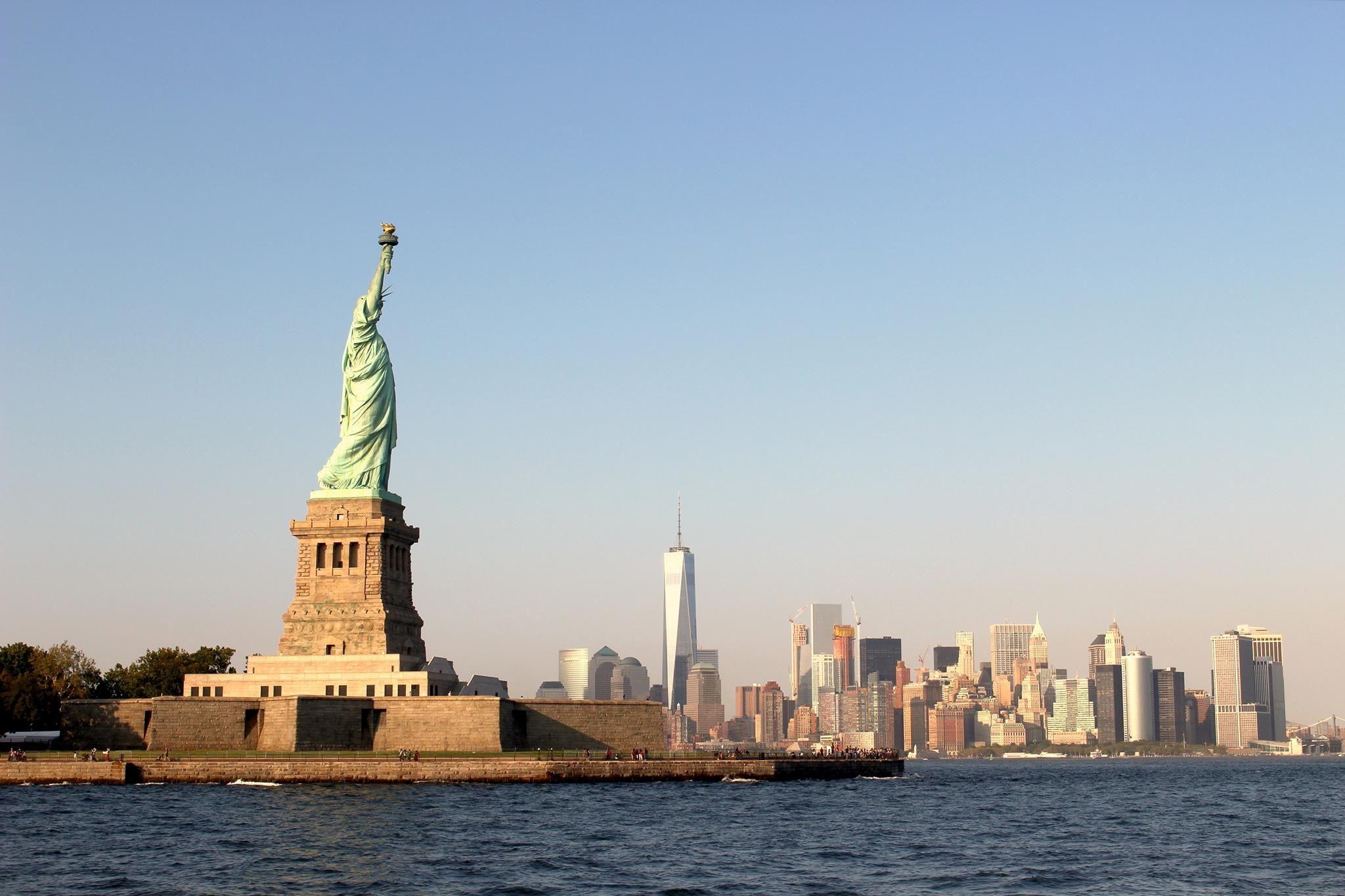 Liberty Island view of Manhattan
