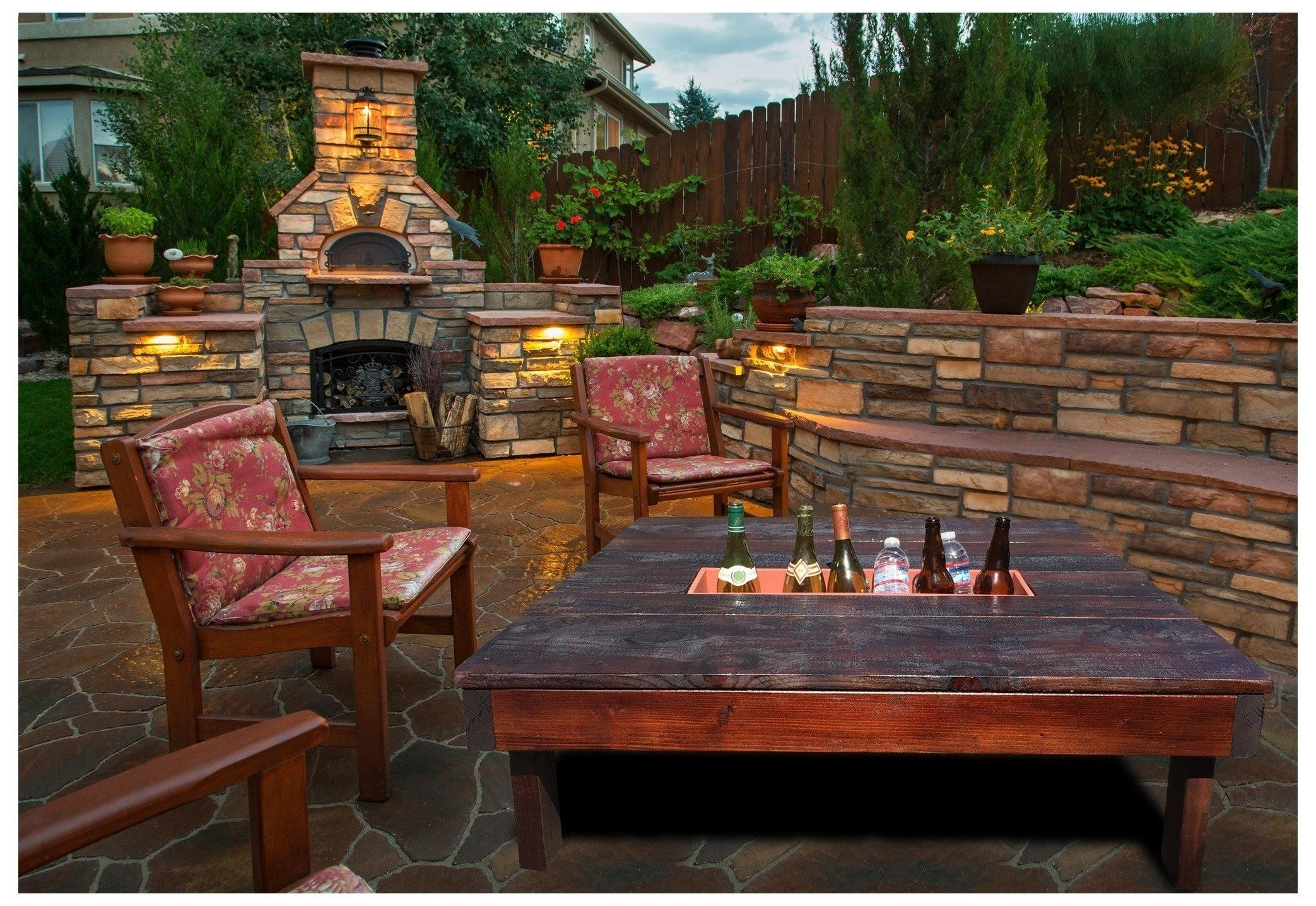 Garden Table With Fire Pit In Middle