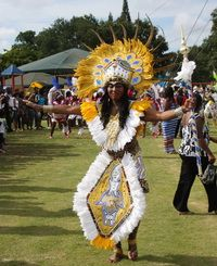 Junkanoo Dancer participating in Family Fun Day in West Park, Florida.