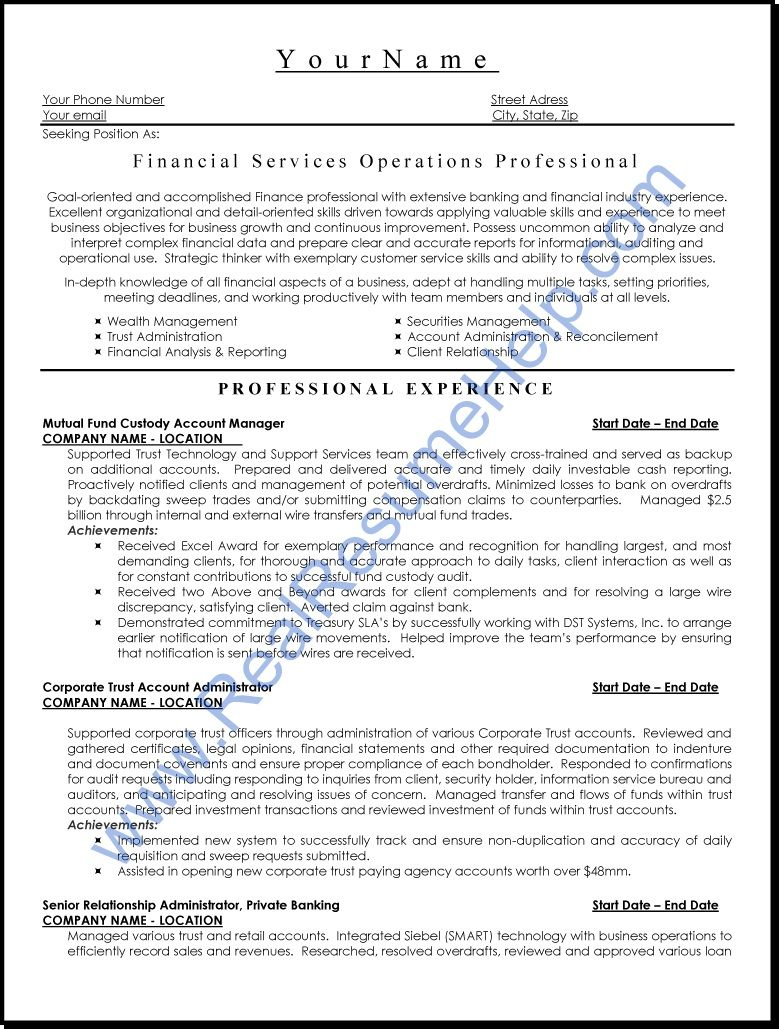 Financial Services Operation Professional Resume   Http
