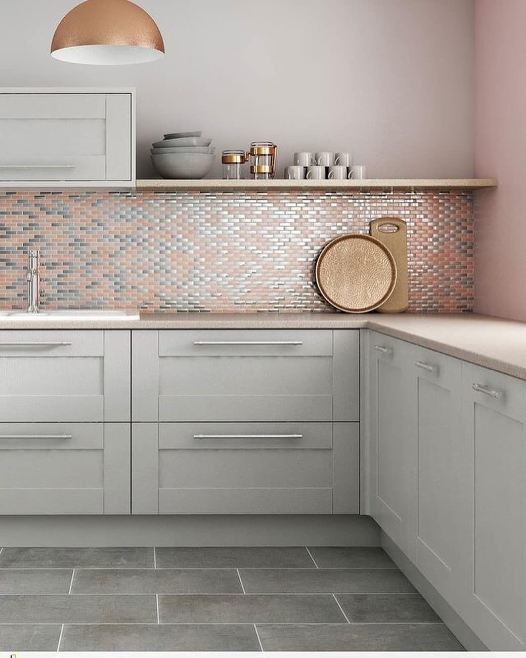 Best Gray Cabinets And A Subtle Hint Of Pink For The Backsplash 640 x 480