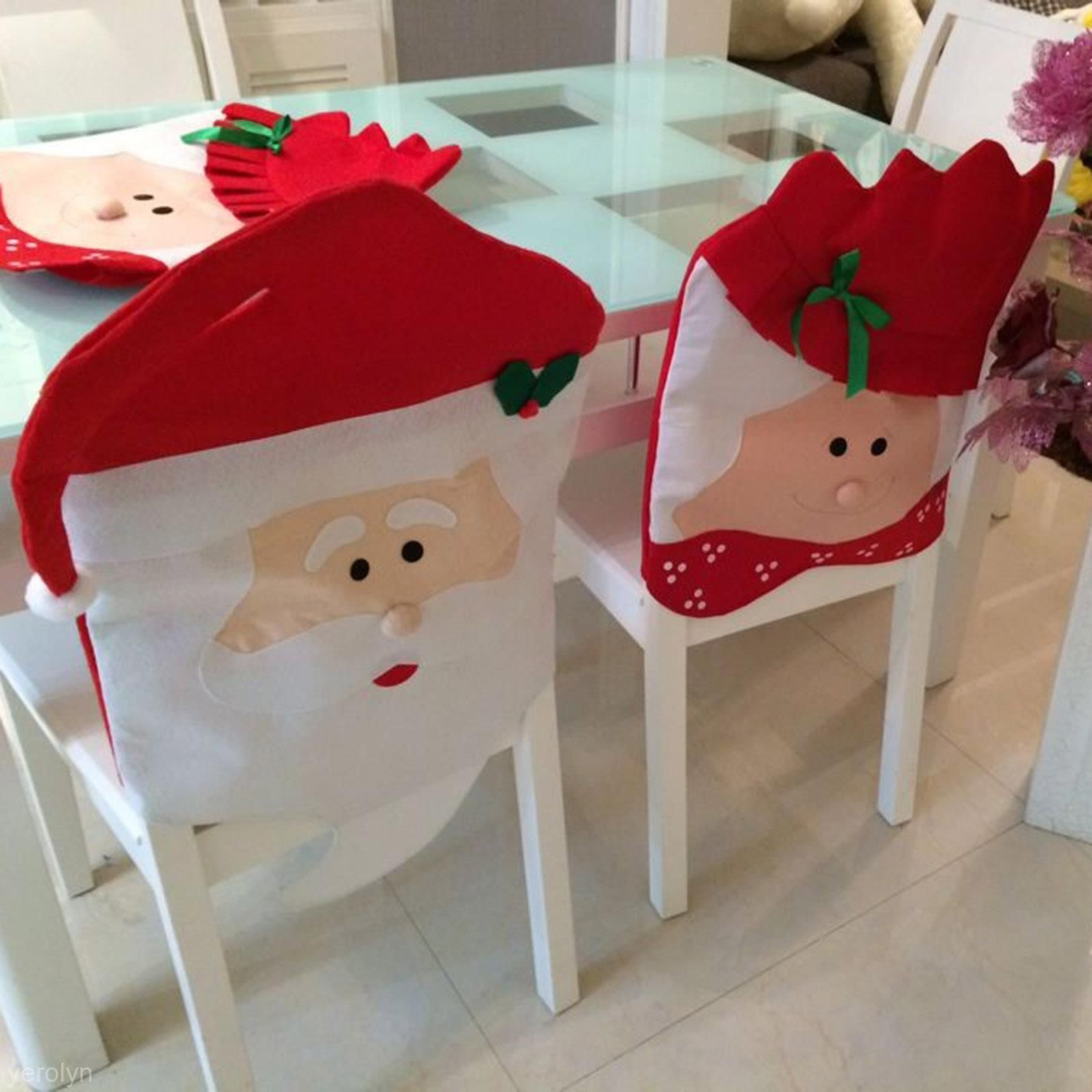 Christmas Chair Covers Ebay Hanging Leaf 6 17 Aud Adorable Santa Claus Funny Decor Soft Dining Room Seat Cover Home Garden