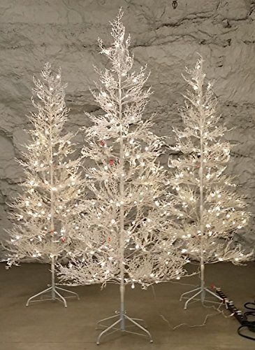 7 ft winter white twig tree with led lights indooroutdoor frosty glitter pre - White Outdoor Christmas Tree
