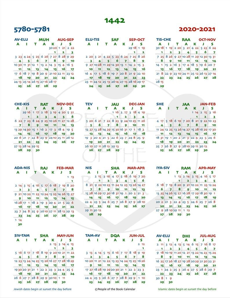 1442 Ah Islamic Hijri Year Overview People Of The Book Calendar With List Of Holidays Happy Planner Big Letter A4 Hijri New Year Hijri Year Book People