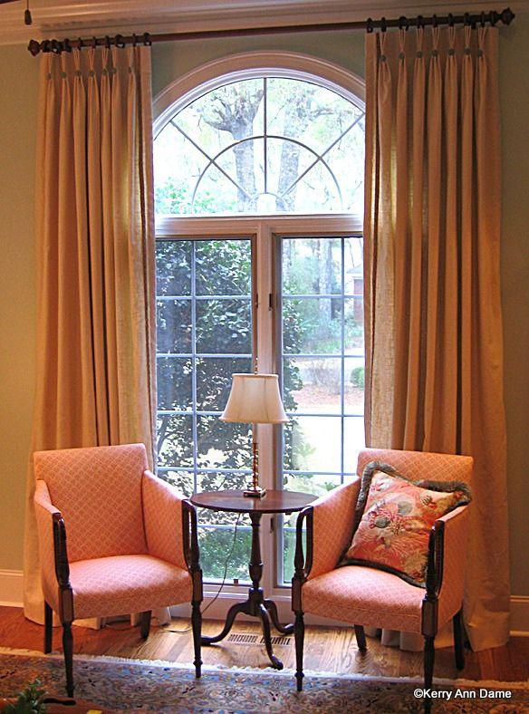 Romantic Style Living Rooms: Curtains For Arched Windows, Dining