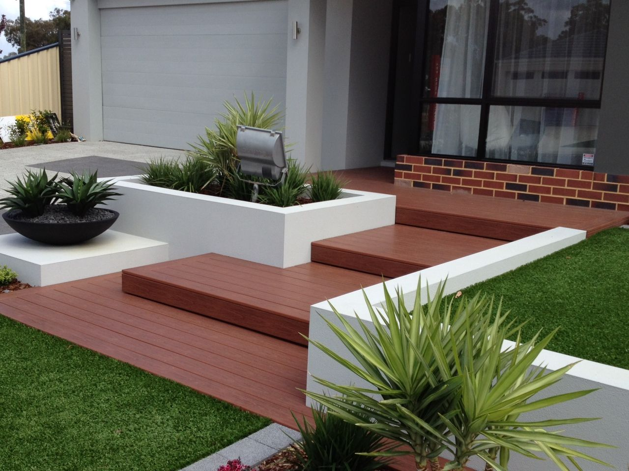 Enchanting Small Garden Landscape Ideas With Stepping Walk: Gossen PVC Deck Showcase In