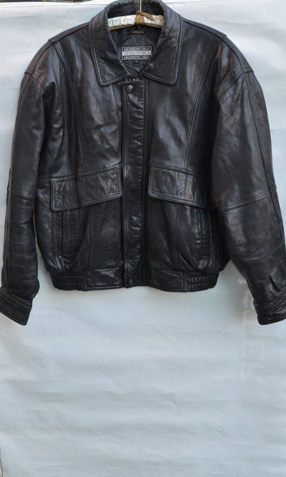 c5f219ca6fba Members Only leather jacket bomber jacket retro 80s vintage men outerwear  winter coat black leather