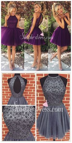 4a58ce3ed10 New Arrival Open Back Gray Tulle Short Prom Dresses Homecoming Dress ...
