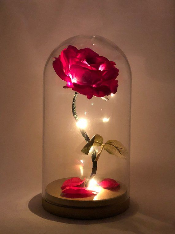Enchanted Rose Flower Lamp Beauty And The Beast Rose Rose In Glass Dome Gold Base Flower Lamp L Enchanted Rose Birthday Lights Flower Lamp
