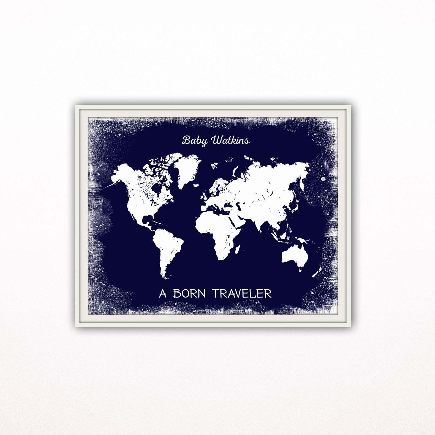 Navy blue nursery art print personalized world map printtravel world map nursery art print designed in white and navy blue for all the born travelers out there it would make a great baby shower gift gumiabroncs Image collections