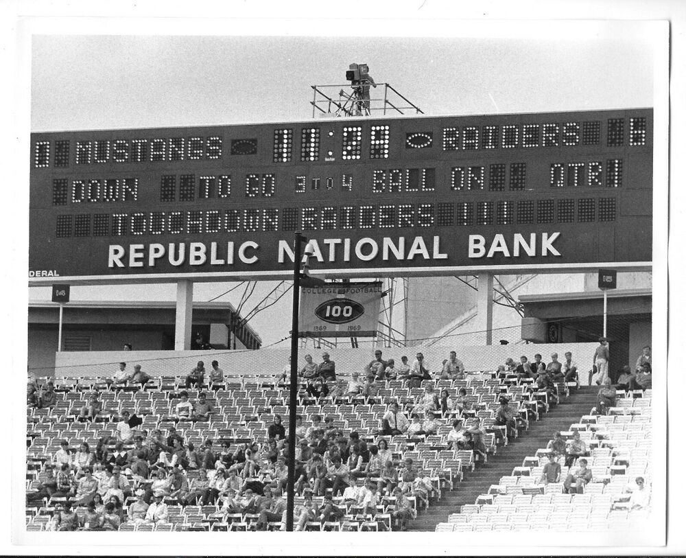 Late 1960's Football Scoreboard Texas Tech vs SMU Black