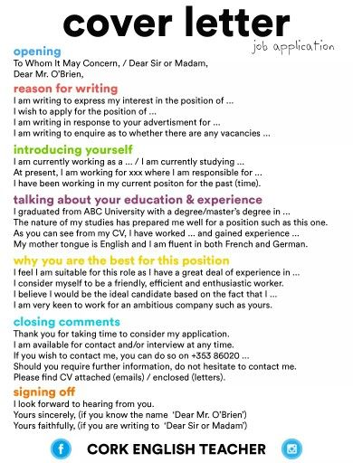 Cover Letter  Cheat Sheet    Life Hacks College And