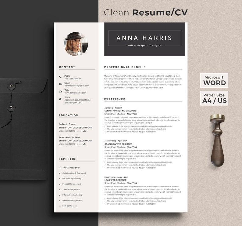 Professional Resume Template Word Resume Cv Template Etsy In 2020 Resume Template Word Resume Template Professional Cv Template