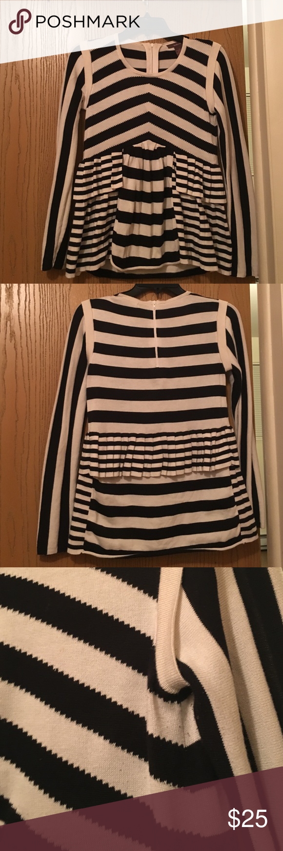Super Cute pleated, chevron pattern Peplum sweater 💯 % cotton, black and off white, gently used- lots of life left, gorgeous pattern in great condition! Heather B brand by Anthropologie Sweaters Crew & Scoop Necks