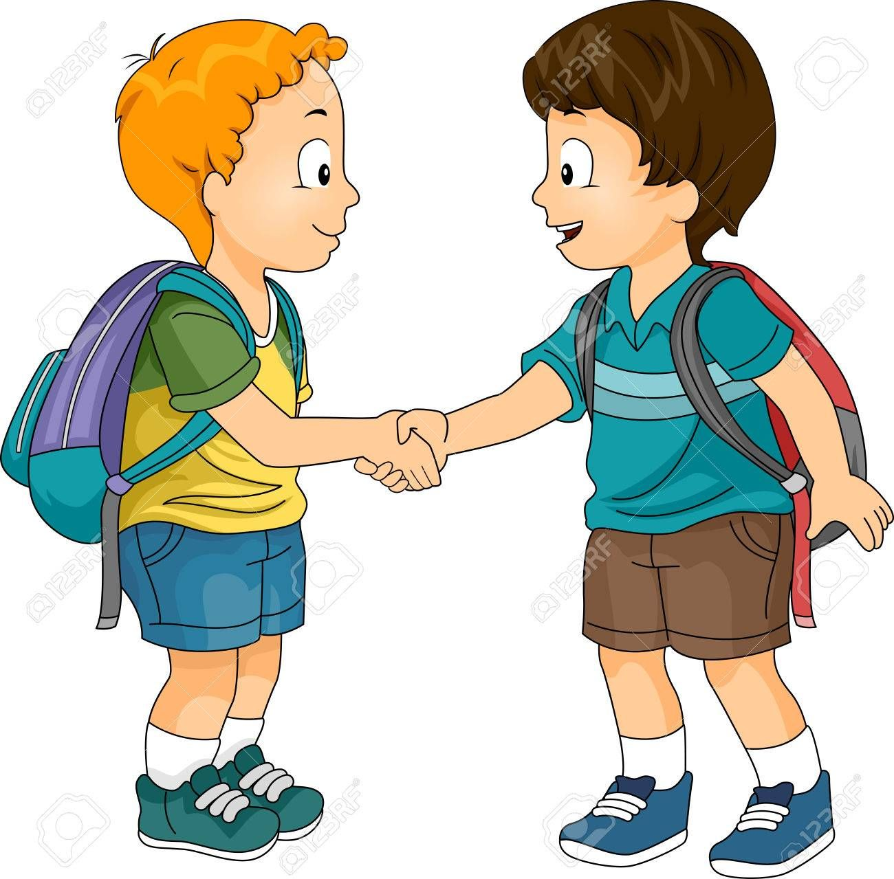 Illustration Of Little Boys Shaking Hands Spon Boys Illustration Hands Shaking Friend Cartoon Islamic Cartoon Clipart Boy