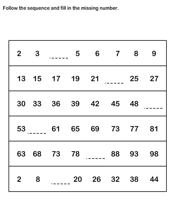 Number Sequence Worksheets,Math Worksheets, kindergarten ...