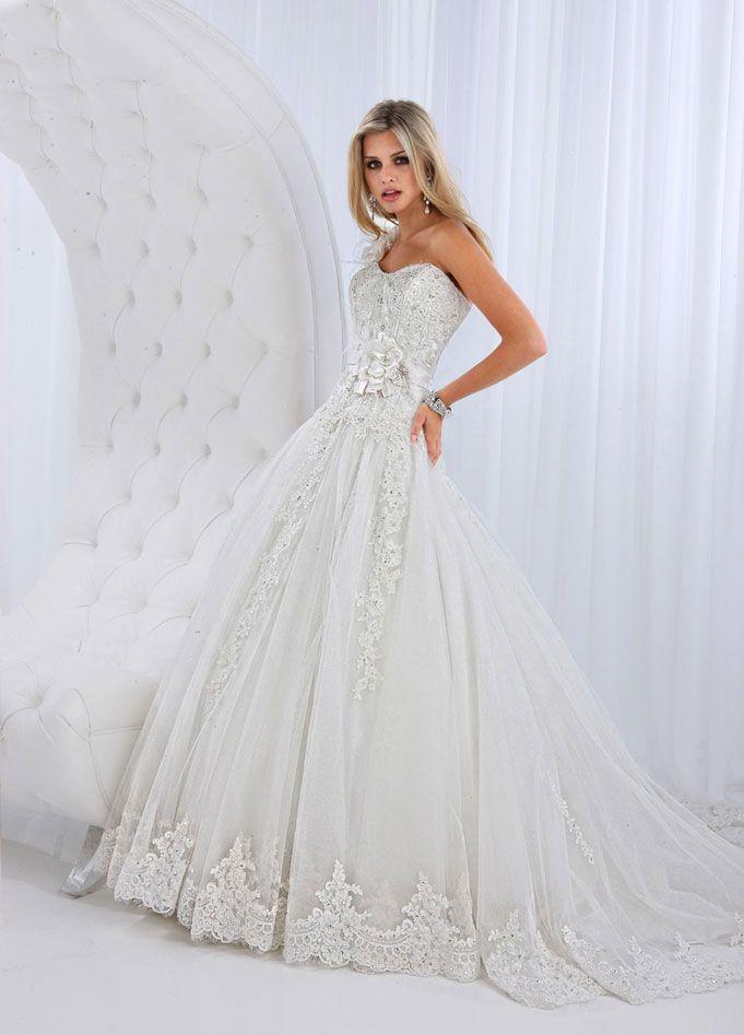 Spectacular Charming one shoulder ball gown chapel train bridal gowns plus wedding dresses plus wedding