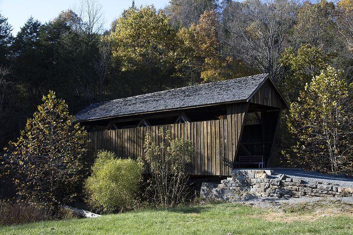 Covered Bridge, Landscape, Scenic, Stream, Creek, Wood