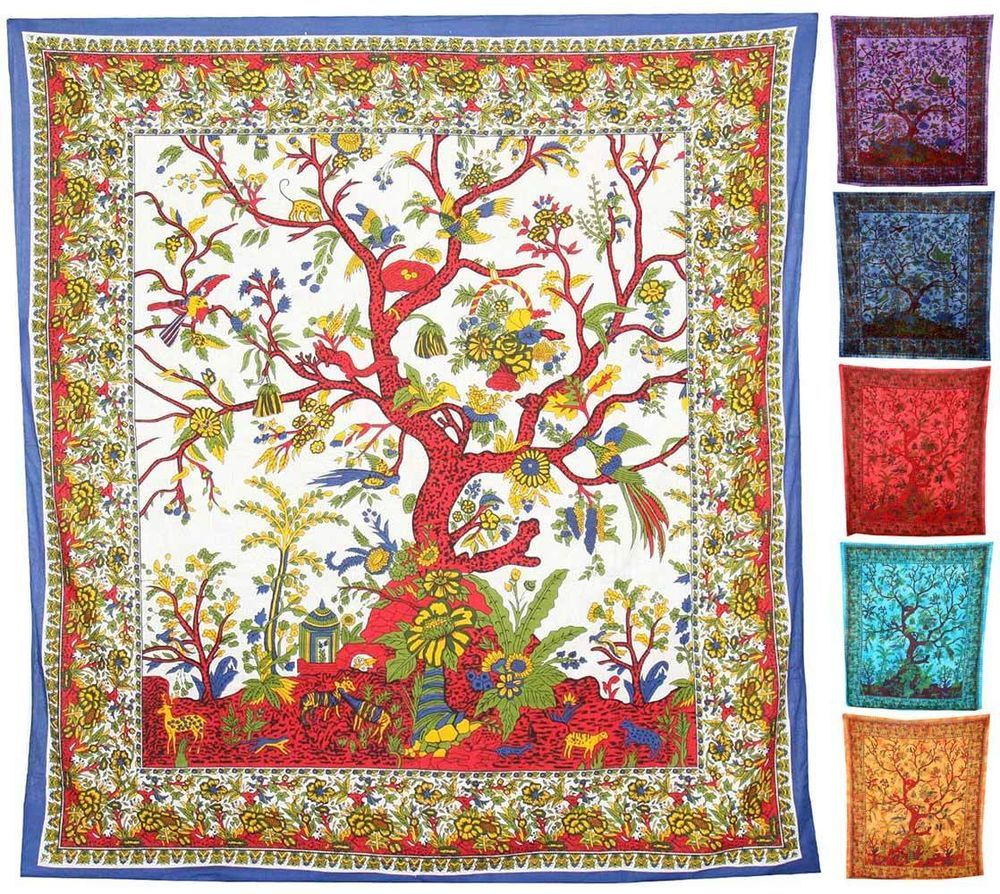 TREE OF LIFE WALL HANGING Tapestry Fabric Vintage Indian Throws Hippie  Large Big In Home,