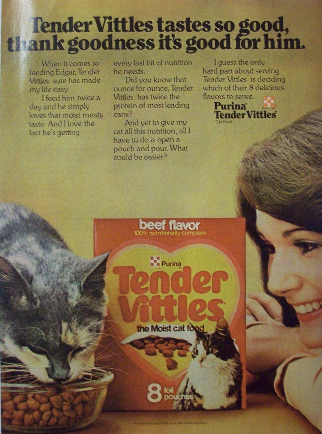 Purina Tender Vittles Cat Food Vintage Advertisement 1979 Good