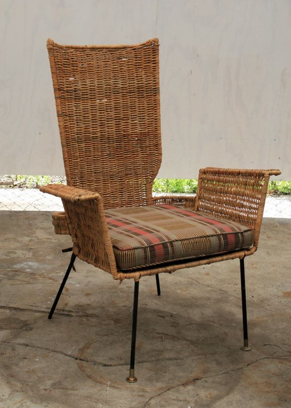 Danny Ho Fong Enameled Metal And Wicker Armchair For