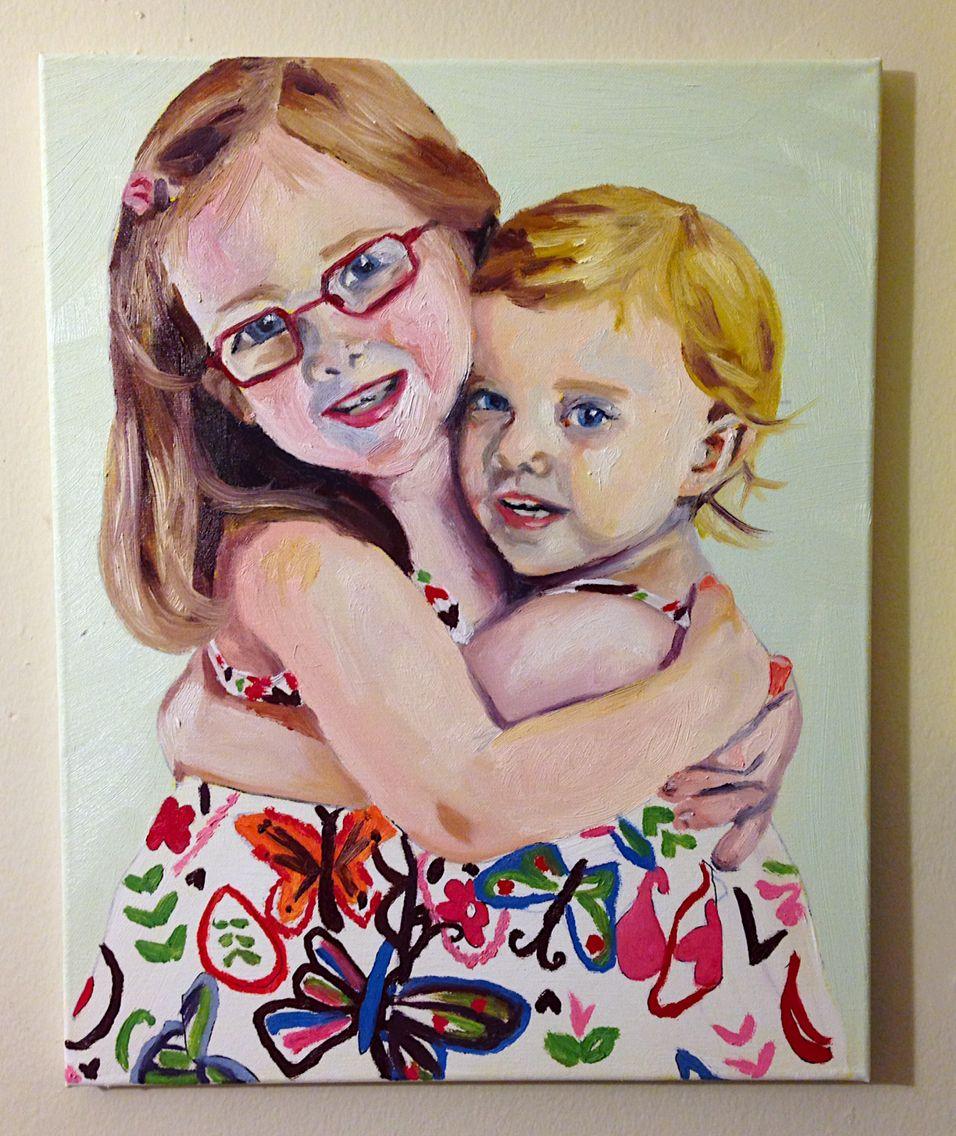 """Sisters"", oil on canvas, 16""x20"", Becky Fox."