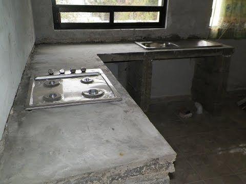 Barra de cocina de cemento empotrada remodelacion de for Desayunadores de concreto