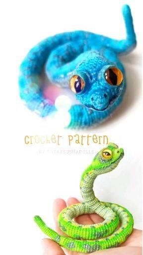 Crochet snake pattern. Realistic reptile. Instruct