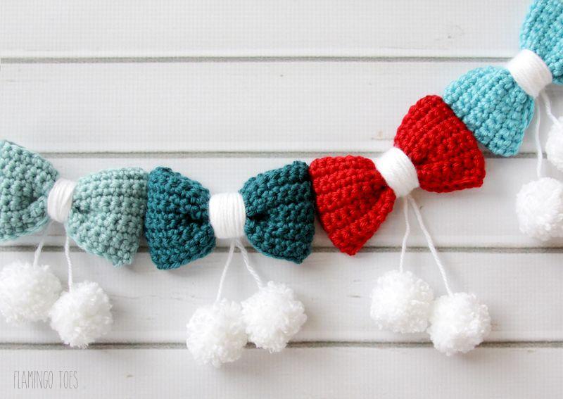 Pom Poms and Bows Crochet Garland -