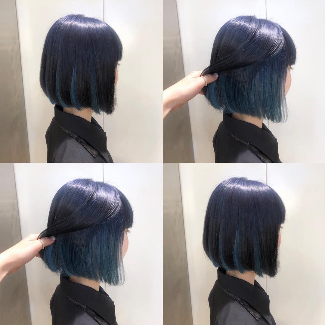 Tanaka Moeko On Instagram ねいび たーこいず ブリーチ1回でできるよう 同系色の色も鮮やかさを変えることでこっそりおしゃれ ネイビーカラー ブルーブラック 個性的 髪型 おしゃれ ブリーチ