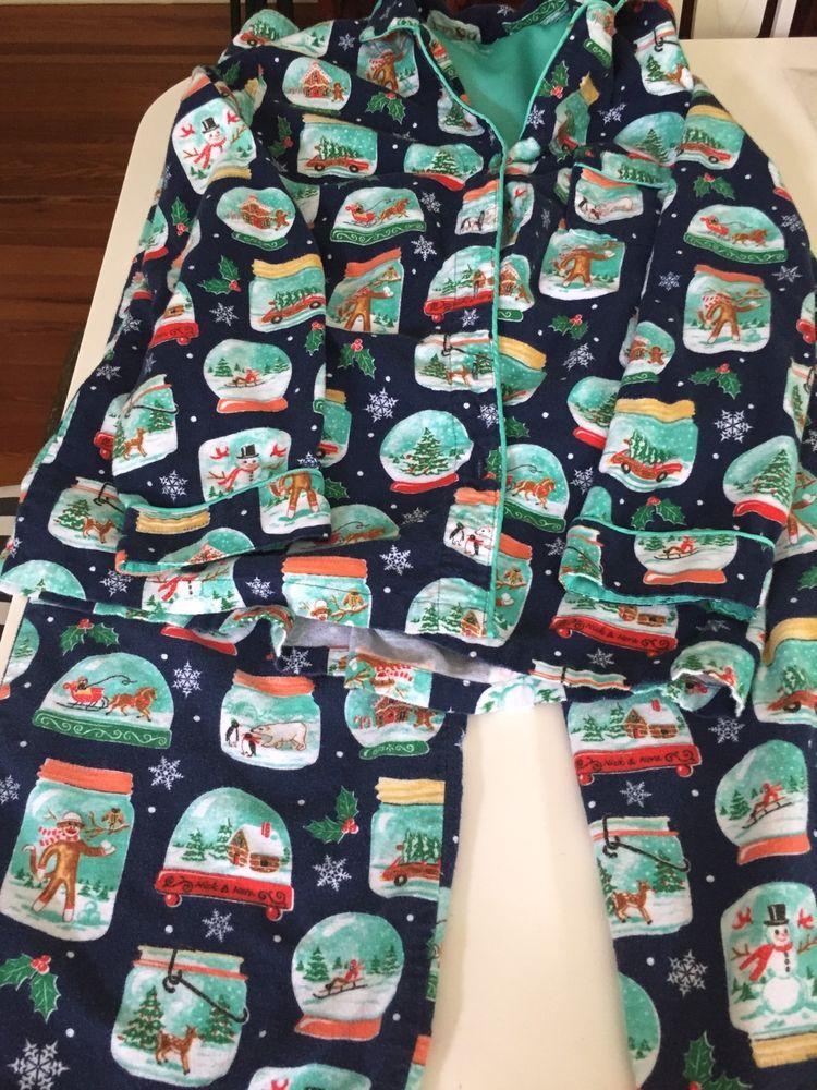 b1146c645c1b3 Nick   Nora Flannel Pajama SET Sz L Blue SNOW GLOBES Christmas Top Pants L   NickNora  PajamaSets