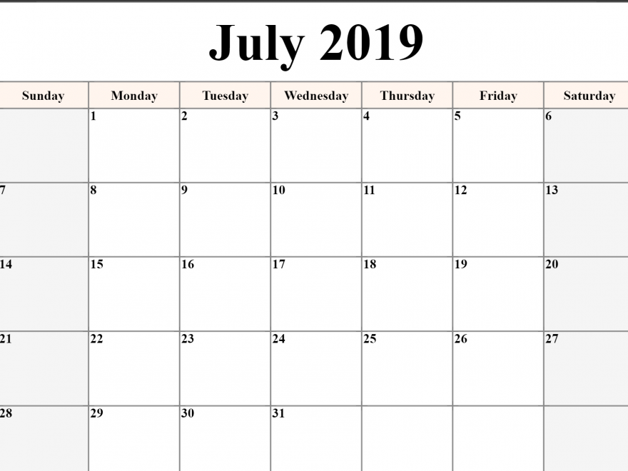 Free Printable July 2019 Calendar Download Free August 2019 Calendar Printable Editable Template B July Calendar Printable Calendar July Blank Calendar Pages