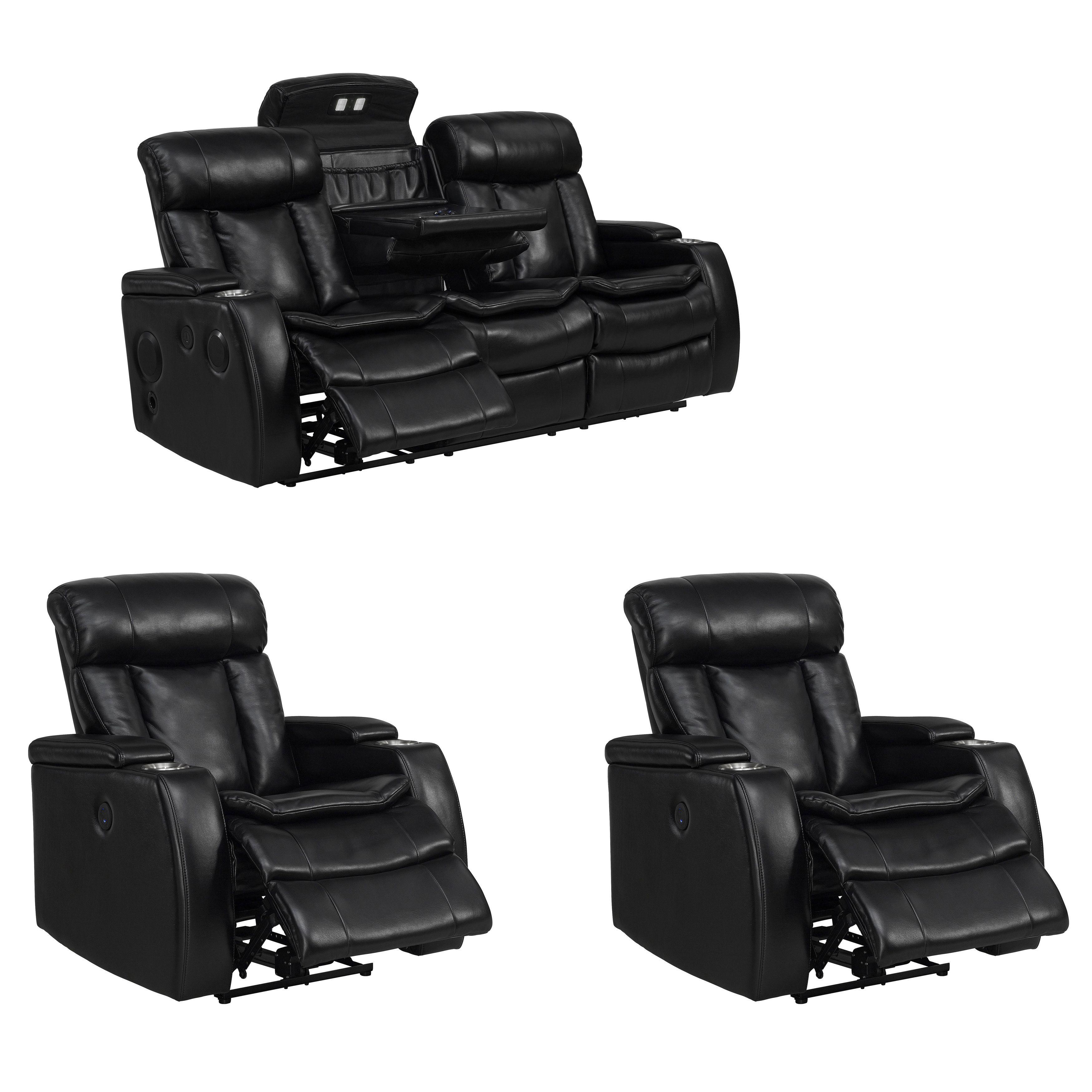 Fine Smart Tech Bluetooth Power Reclining Sofa And Two Chairs Machost Co Dining Chair Design Ideas Machostcouk
