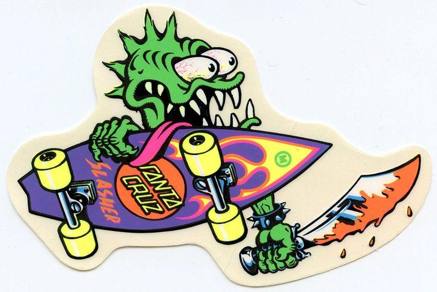 Santa Cruz Slasher Sticker Skateboard Stickers In 2019