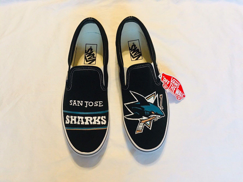 San Jose Sharks Custom Painted Vans Etsy Vans Painted Vans San Jose Sharks