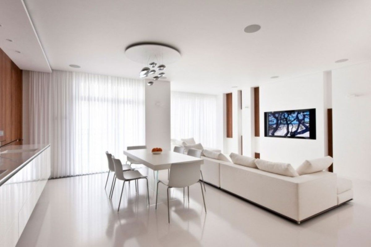 Open Plan Kitchen Dining Living Room Design Ideas With Modern White ...