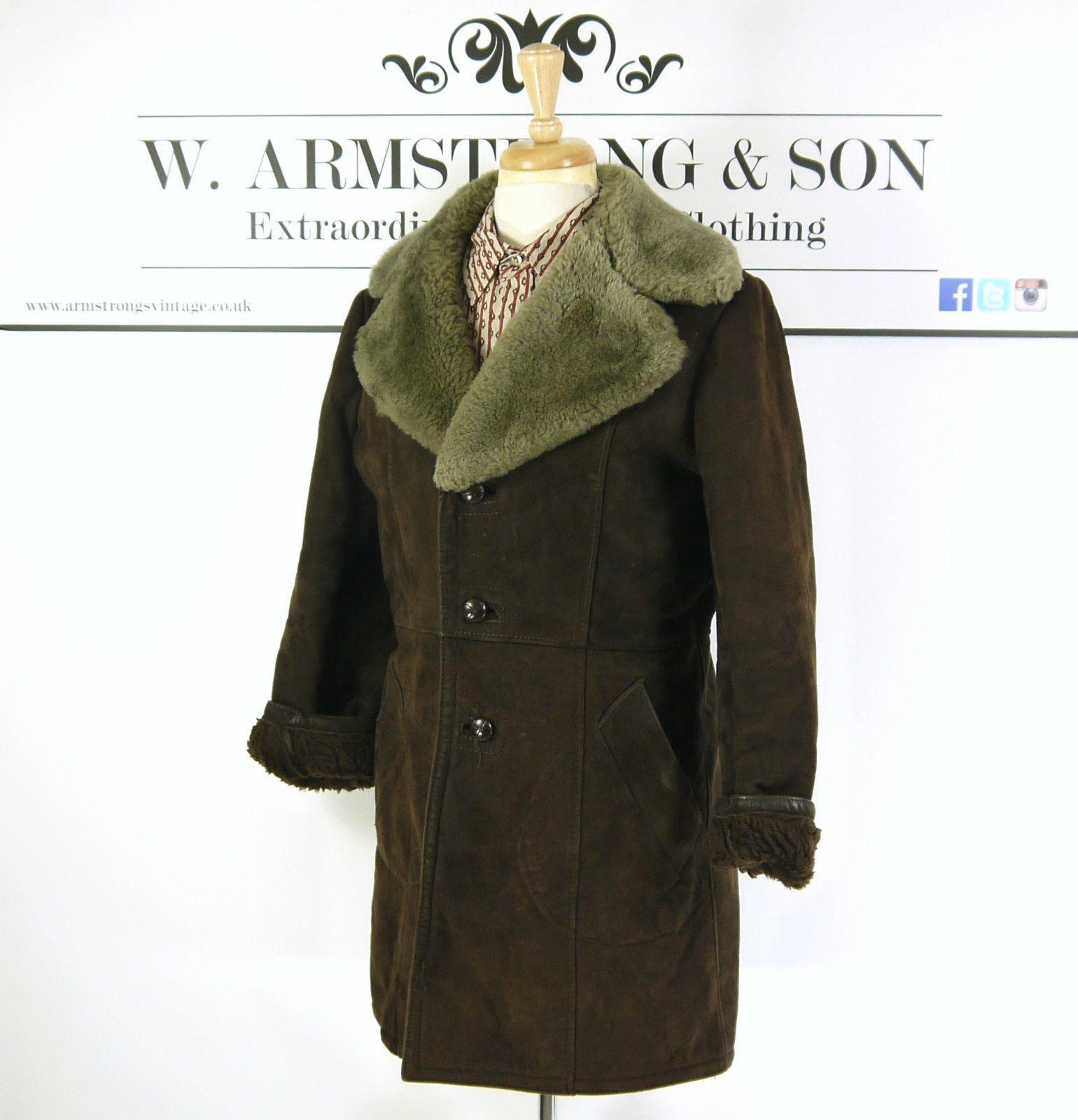 Men's Brown REAL SHEEPSKIN LEATHER Shearling 70's MOD BOHO Hippy Chunky Coat M | eBay