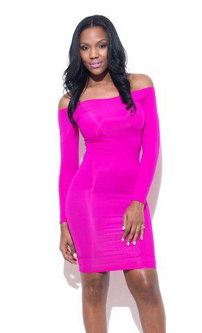 Shoulderless Dress- Hot Pink