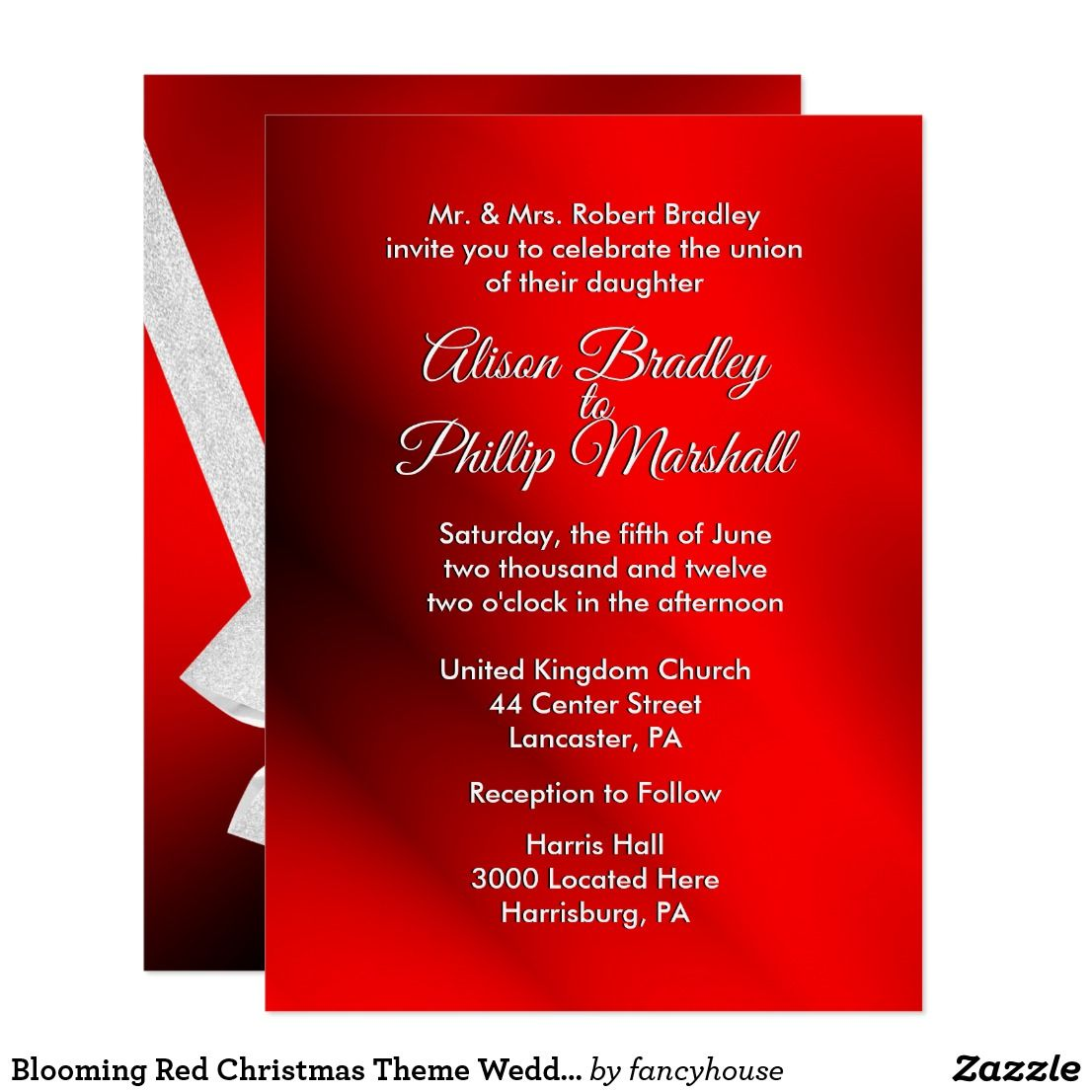 Blooming Red Christmas Theme Wedding Invitation 50% off | Wedding ...