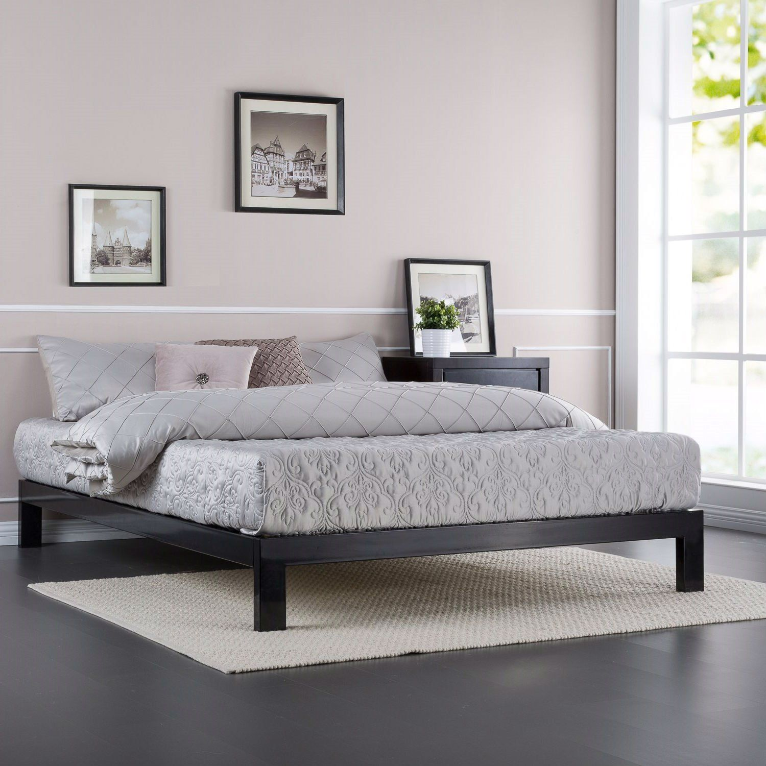 Best This Full Size Contemporary Black Metal Platform Bed With 400 x 300