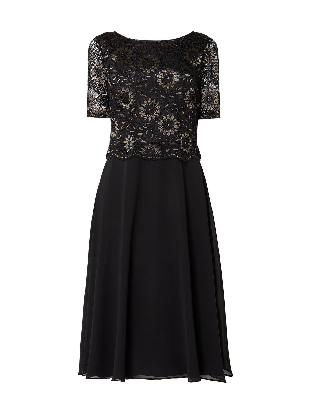 vera mont – cocktailkleid mit floraler spitze – schwarz