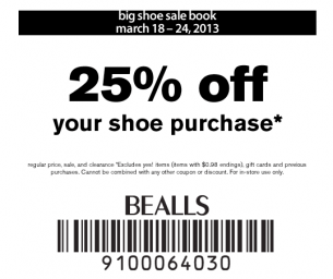 graphic about Bealls Printable Coupons identify Bealls Discount codes 25 Off Sneakers Printable Discount codes Bealls
