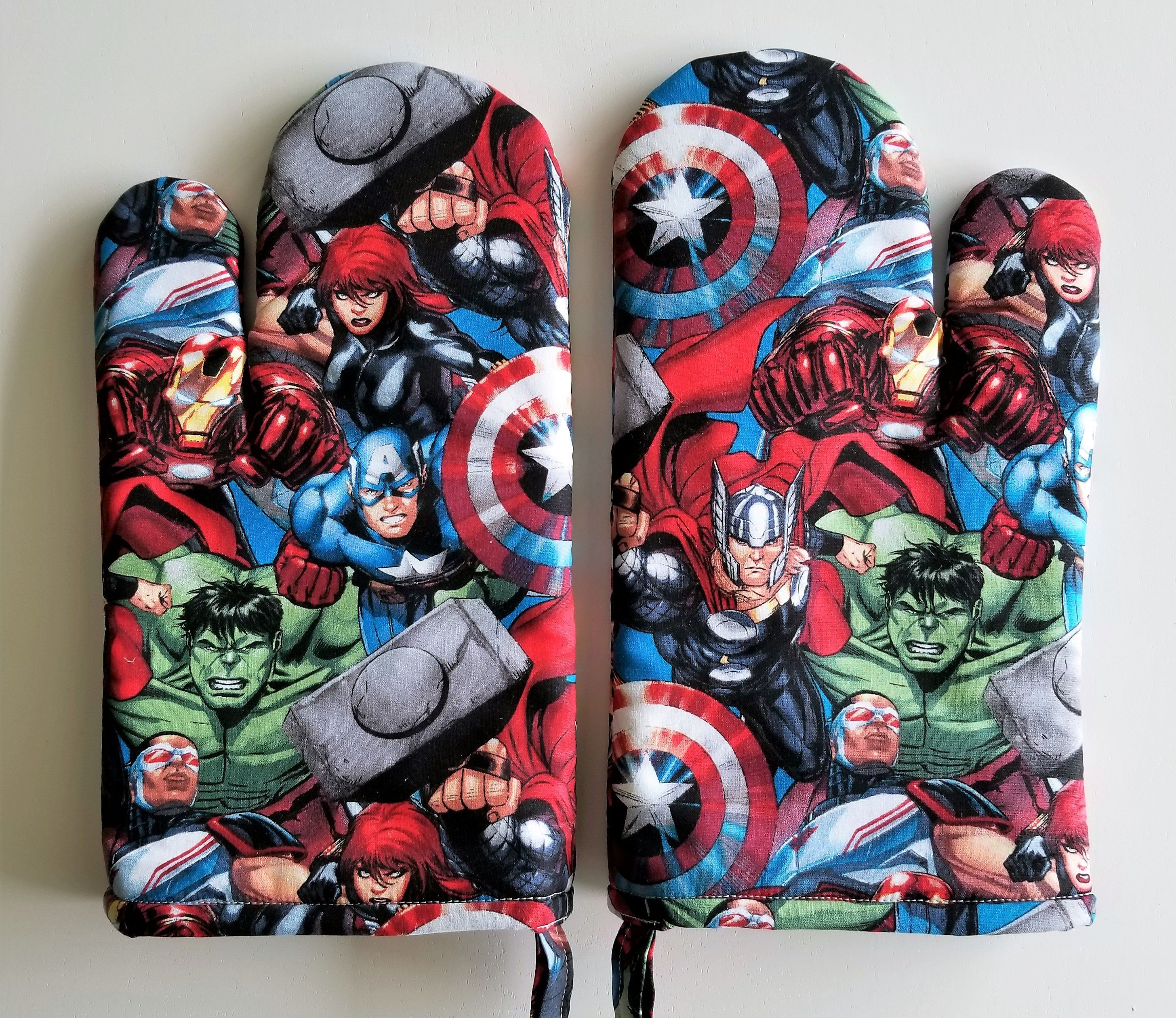 Oven Mitt, Marvel Kitchen Oven Mitts, Heros, Incredible Hulk, Captain