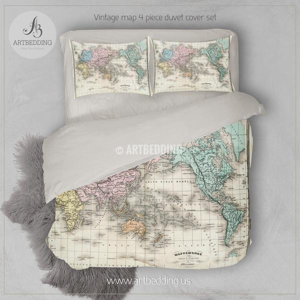 Antique Map Of World Bedding Vintage Old Map Duvet Cover Set Vintage Map Comforter Set Duvet Cover Sets Bedding Sets Map Duvet Cover