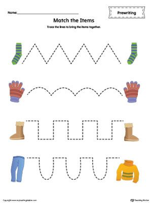 Matching Items Tracing Prewriting Worksheet in Color | Colors ...