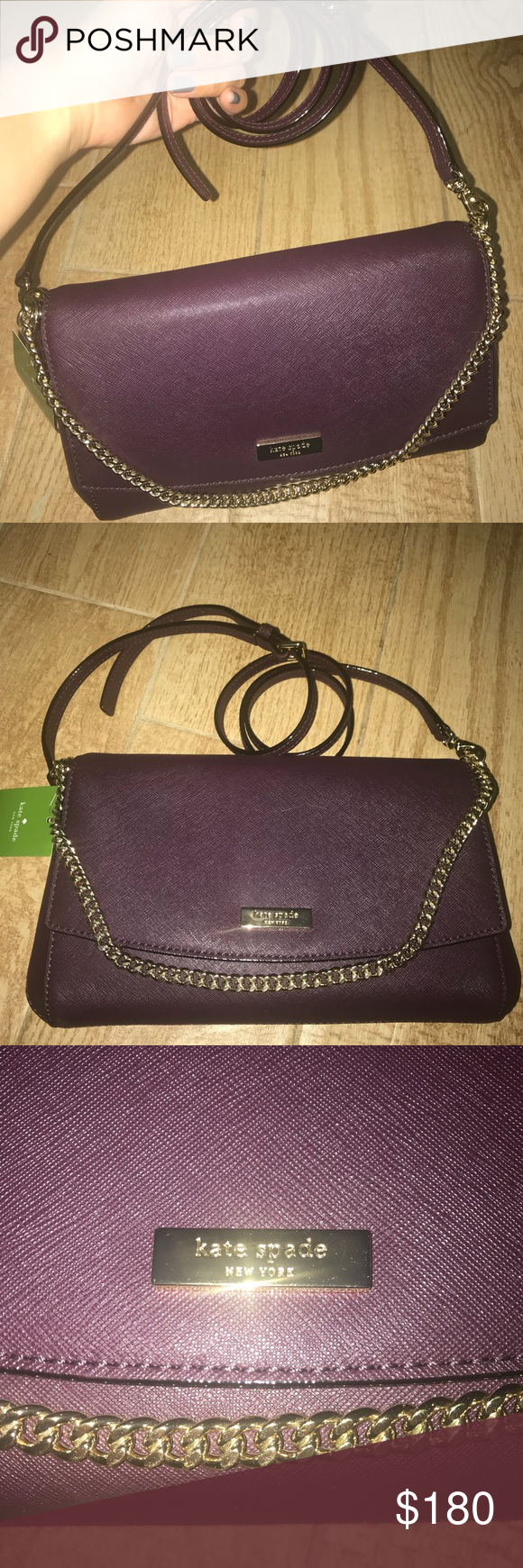 7c6d77fd7a00 Kate Spade Crossbody with Gold Chain Detail NWT Color is called Mahogany.  Looks more like