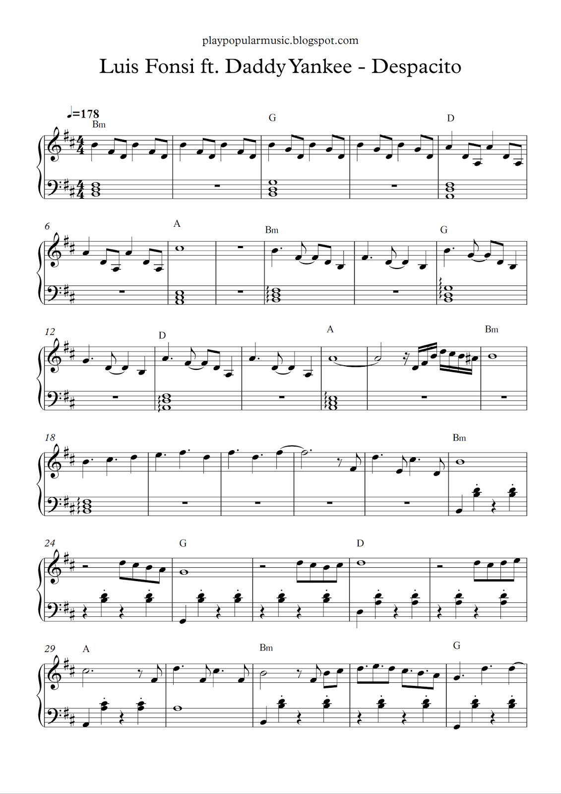 free piano sheet music luis fonsi ft daddy yankee