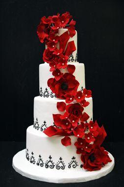 red hydrangeas, roses & poppies